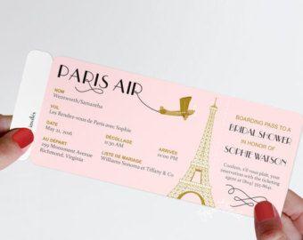 Invitar a París embarque pase invitación DIY por justalittlesparkle