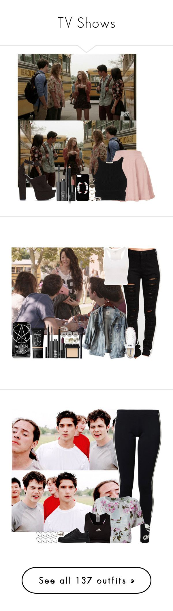 """""""TV Shows"""" by assia-mouaqk ❤ liked on Polyvore featuring NARS Cosmetics, Topshop, Shoe Cult, Jonathan Simkhai, ASOS, Forever 21, 25, Converse, Neon Hart and adidas Originals"""