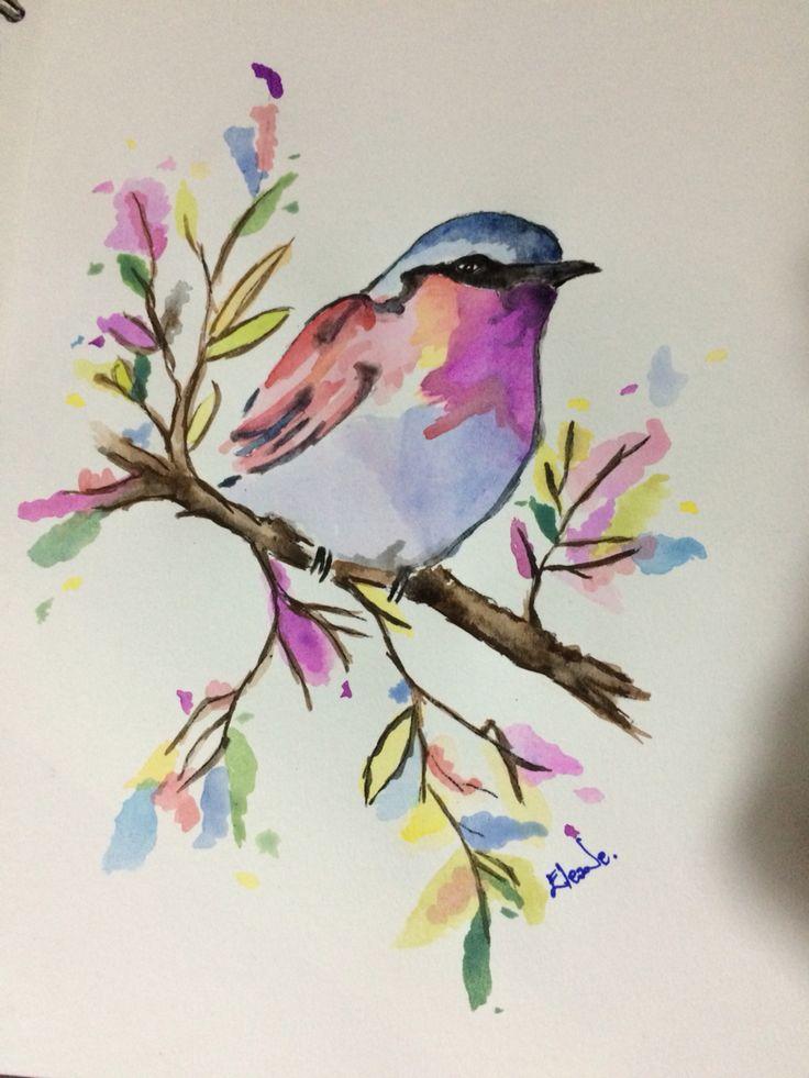 птица на ветке рисунок красками что нужно цветку
