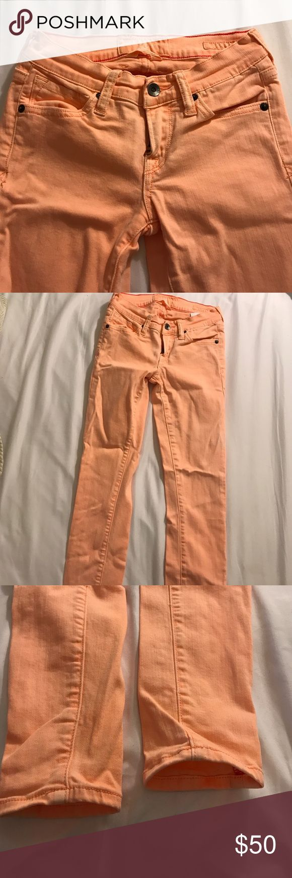 Lucky Brand skinny jeans - peach color Skinny jeans / super cute! Perfect condition Lucky Brand Jeans Skinny