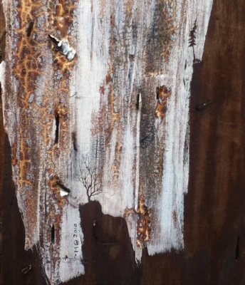 Tiny trees etched into paint on a telephone pole!