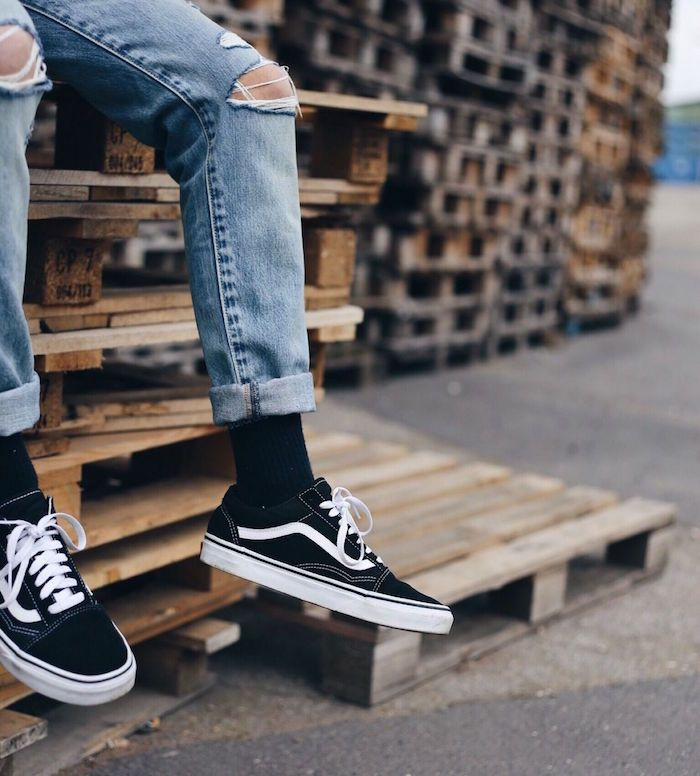 hommes fashion with vans chaussures
