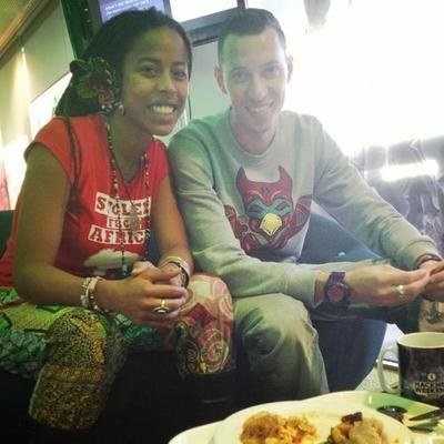 Donisha Prendergast ( Granddaughter of Rita & Bob Marley) at BBC Radio in #london wearing her red Stolen From Africa t-shirt!!! order yours today! http://www.stolenfromafrica.com