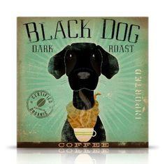 Black Dog Coffee black labrador original graphic illustration giclee archival print by stephen fowler Pick A Size