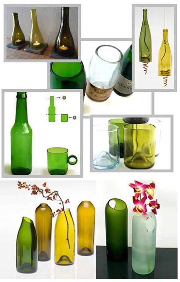 Recicled bottles ~ Botellas recicladas y cómo cortarlas
