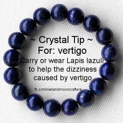 Vertigo, dizziness. Lapis Lazuli Healing Crystal. impart ancient knowledge, and the wisdom to use it and to enhance one's awareness, insight and intellect. peacefulness, objectivity and self acceptance.