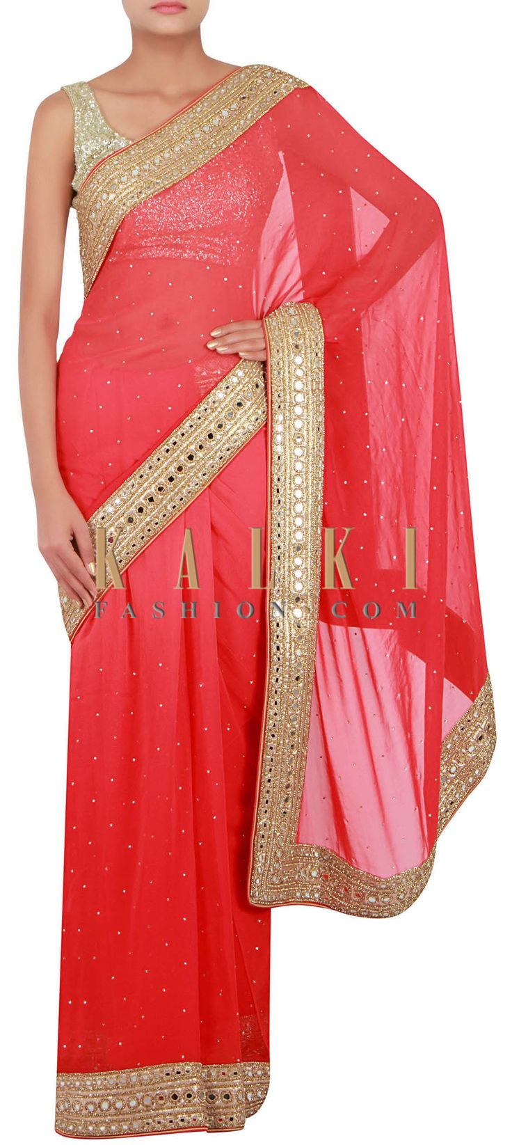 Buy Online from the link below. We ship worldwide (Free Shipping over US$100) http://www.kalkifashion.com/coral-saree-embellished-in-mirror-and-stone-only-on-kalki.html