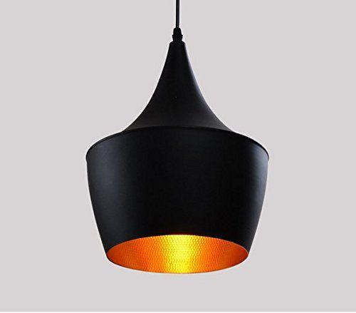 Retro Antike Moderne Pendelleuchte Hängeleuchte Anhänger E27 Fassung LED Deckenleuchte Beleuchtung Heimspiel für Dinning Wohnzimmer Schlafzimmer (außen schwarz innen gold)