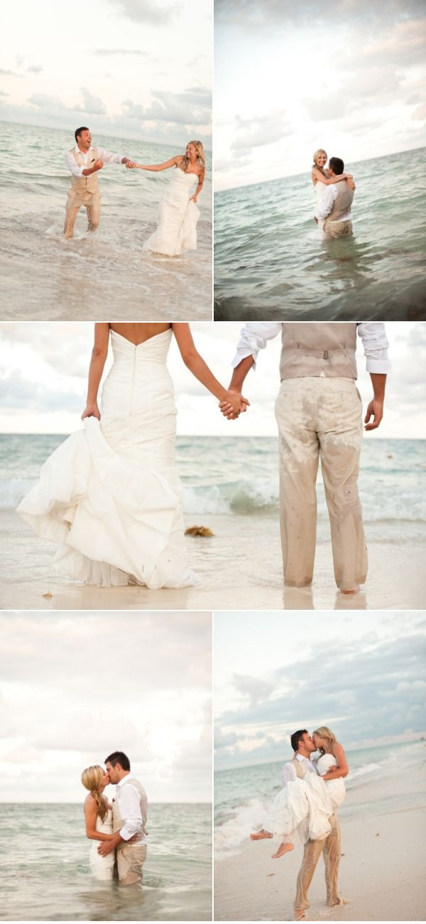 Trash the dress picture ideas - bride trash the dress - Just married - beach wedding picture ideas