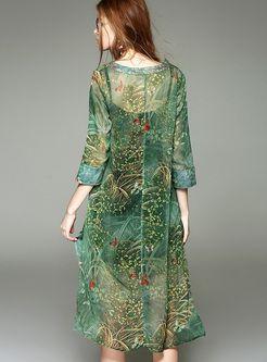 Loose Print Two-Piece Dress