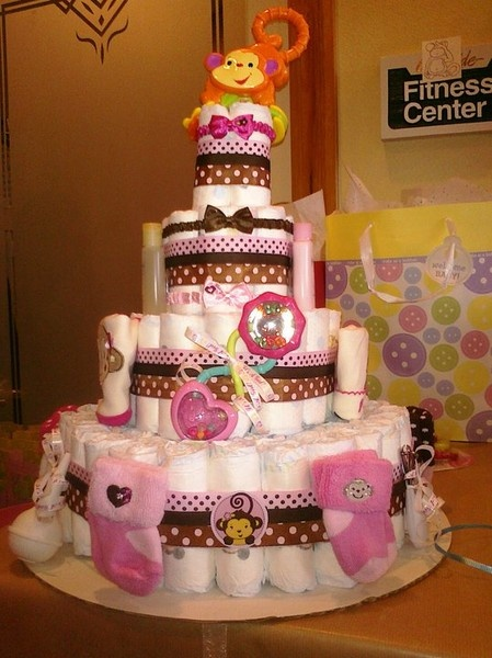"Pink and Brown ""Monkey"" Diaper Cake!!"