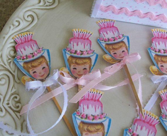 birthday party.  vintage girl. birthday cake