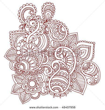 Hand-Drawn Abstract Henna (mehndi) Paisley Doodle Vector Illustration Design Element
