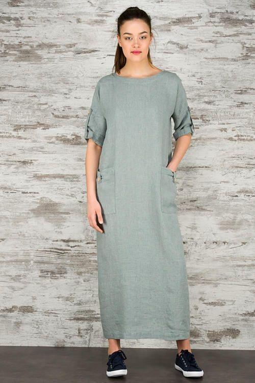 Long linen dress gray blue linen dress for summer pre washed