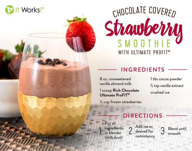 "Lean back, sip your ProFit, and say ""YUM!"" with It Works ProFit Protein Shake Recipes. profit.howtonow.org Chocolate covered Strawberry Protein Shake #smoothie #proteinshake #smoothie"