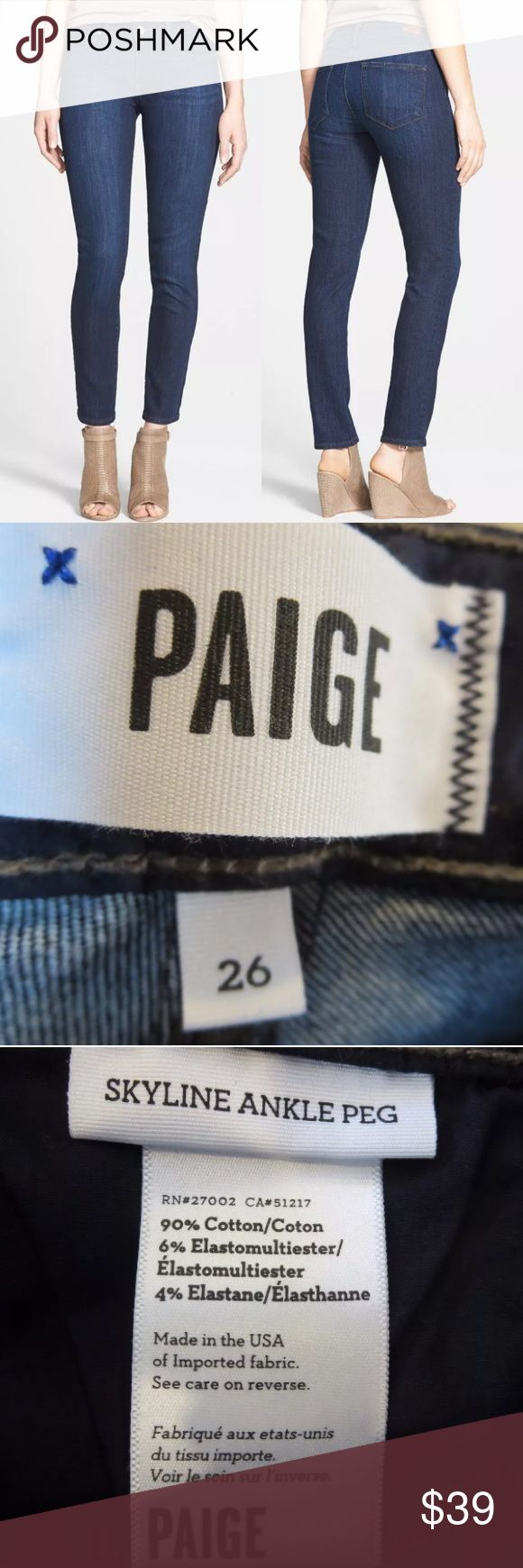 🆕List! Paige Skyline Ankle Peg Jeans! NEW! Palmo medium wash. Waist measures 14.25 inches across. Rise 8 inches. Leg opening 11.5 inches. Inseam 29 inches. New with tags - defect - some stretching at front hips. PAIGE Jeans Skinny