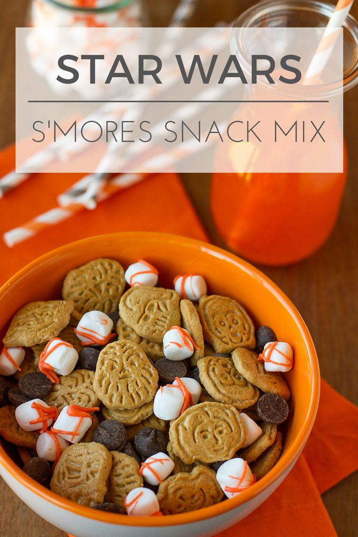 Star Wars Snack Mix -- this delicious s'mores snack mix recipe was inspired by BB-8 + the Dark Side in The Force Awakens… Perfect for munching at a party or anytime! Super simple to make, kids will LOVE to help. | via @unsophisticook on unsophisticook.com