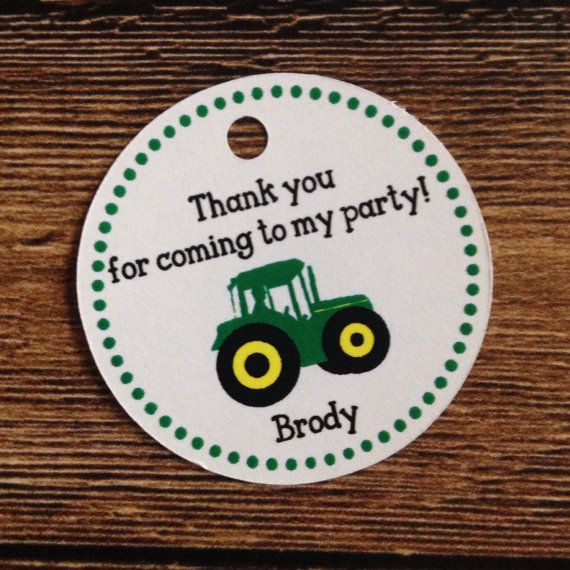 John Deere Birthday Party Favor Tags for Treat Bags by ICraft4Uky