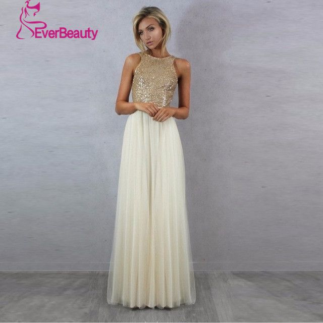 Charmming 섹시한 신부 들러리 드레스 쉬폰 명주 최고 샴페인 골드 장식 조각 2017 긴 특별한 드레스