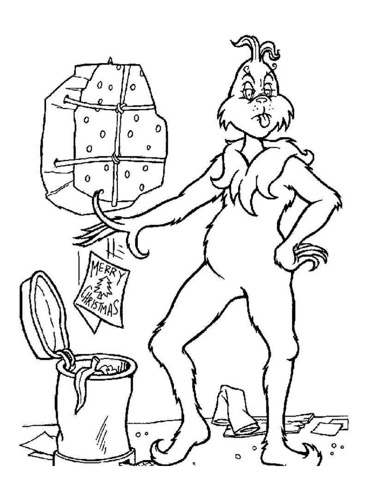 Grinch Coloring Pages Images. in 2020   Grinch coloring ...
