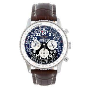 LOT:44 | BREITLING - a gentleman's stainless steel Navitimer Cosmonaute wrist watch.