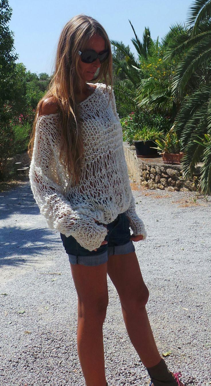 White lightweight oversized grunge loose knit sweater by ileaiye, $100.00
