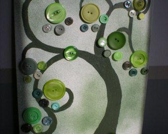 Arte de árbol de Navidad arpillera botón por TheBlueBootTX en Etsy