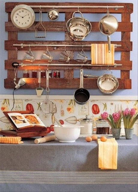Pot Rack from old wood palletcould adapt this idea to be the backing of a homemade hutch!