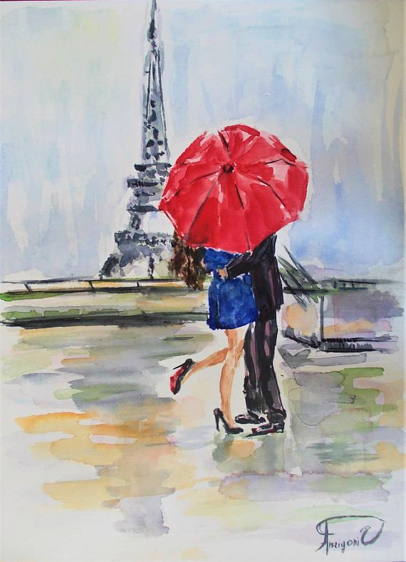 Original Watercolor Painting Couple Painting Paris Painting Couple
