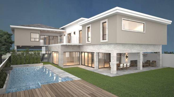 Fachada Oriente / Area social.: Albercas de estilo Moderno por Nova Arquitectura