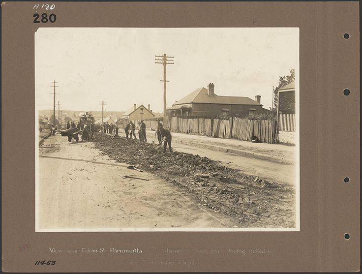 View near Falcon St, Parramatta. Showing tram line being pulled up. 1946