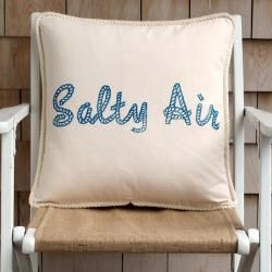 """Cottage Coastal pillow collection """"Salty Air"""" w/Boat Rope lettering design. 18""""x18"""". Hand block printed using water based inks onto 9oz, 100% cotton canvas, natural color. Rope style trim. Zipper closure in the back. cottage coastal"""