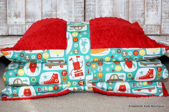 Kinder Mat Cover - Boy Crazy and Red Minky- Ready To Ship - LAST ONE