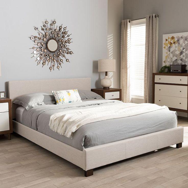 Baxton Studio Elizabeth Contemporary Platform Bed, Lt Beige