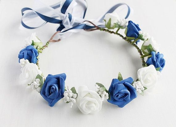Something Blue Bridal Crown Blue Flower Crown by HandyCraftTS, $32.00
