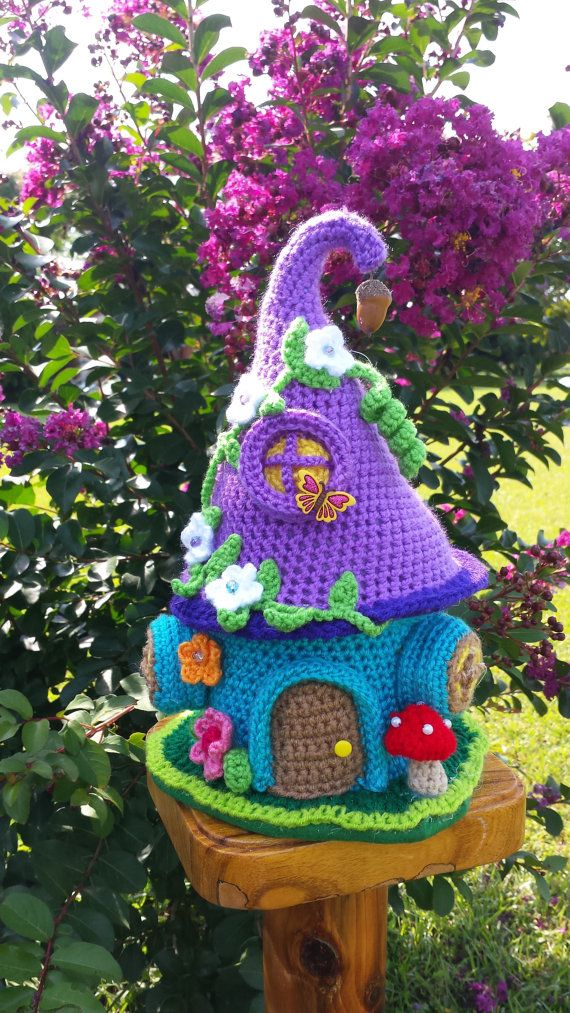 A new handmade crochet fantasy fairy or Gnome house for your indoor garden décor. Made with colorful acrylic yarns , the house is designed to last for