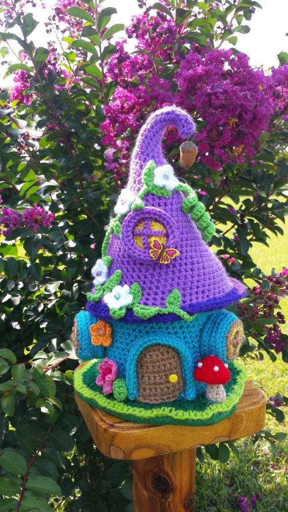 A Handmade Crochet Fairy / Gnome Fantasy House Garden by emcrafts