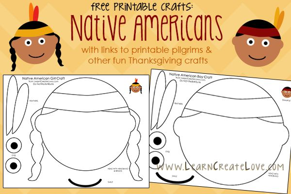 Preschool Crafts for Kids*: Free Printable Native American Face Craft for Thanksgiving