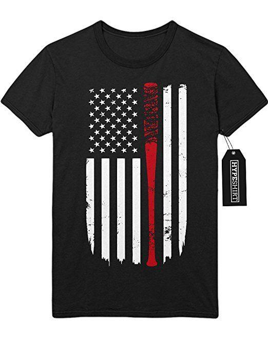 T-Shirt The Walking Dead TWD Negan Lucille America USA Flagge C980038 Schwarz XL
