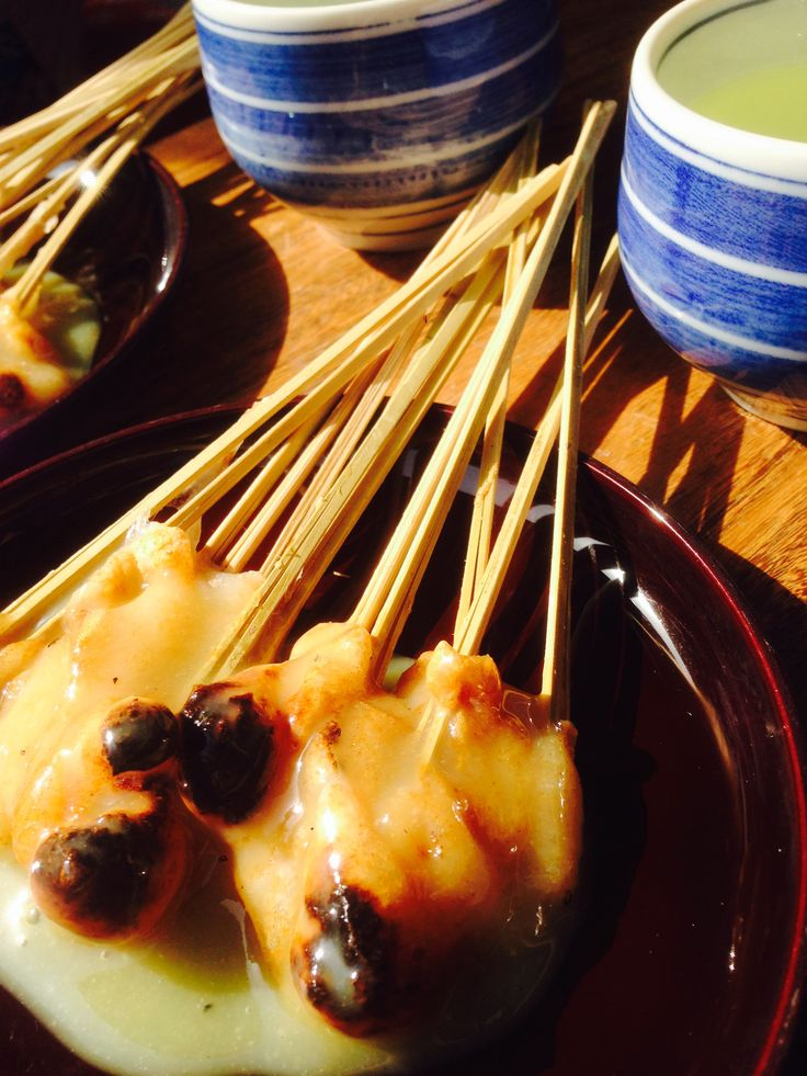 Japanese sticky rice sweets 'aburimochi. Located at imamiya shrine kyoto.