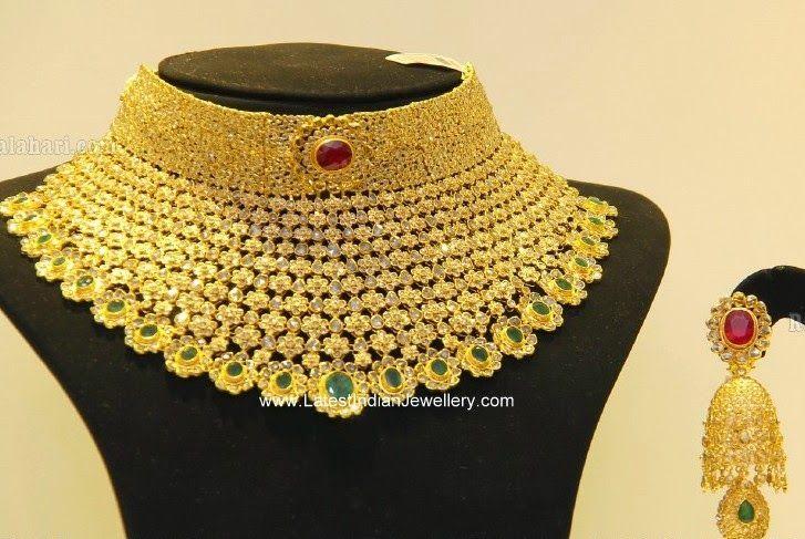 Huge Uncut Diamond Necklace Jhumka Set