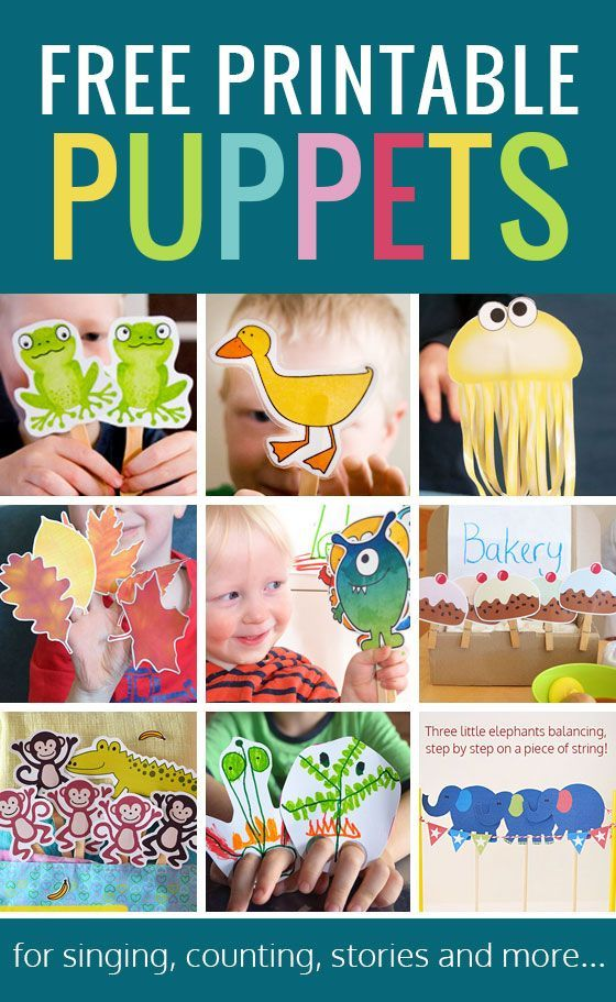 Free printable puppets - loads of different printable puppets to go with songs and stories and just for fun!