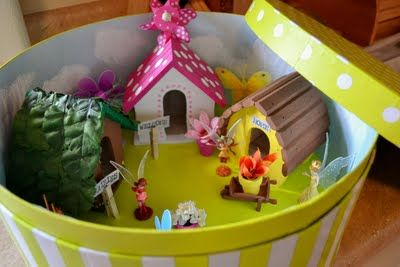 This concept is really cute- make a fairy garden in a hatbox. All the pieces fit inside an you can put the lid on and it is room decoration. I've seen some cute hatboxes at discount stores like T.J.Maxx recently.