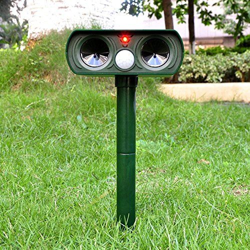 OUTPO Mole Repeller Outdoor Solar Powered Ultrasonic Animal Repeller With PIR Sensor Protect Your Yard Lawn Garden Waterproof *** Click image for more details.