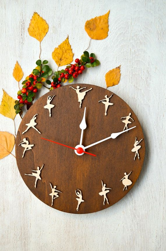Ballet clock Dancing Ballerinas, gift for dancer, for girls, girl room decor, original wooden clock.