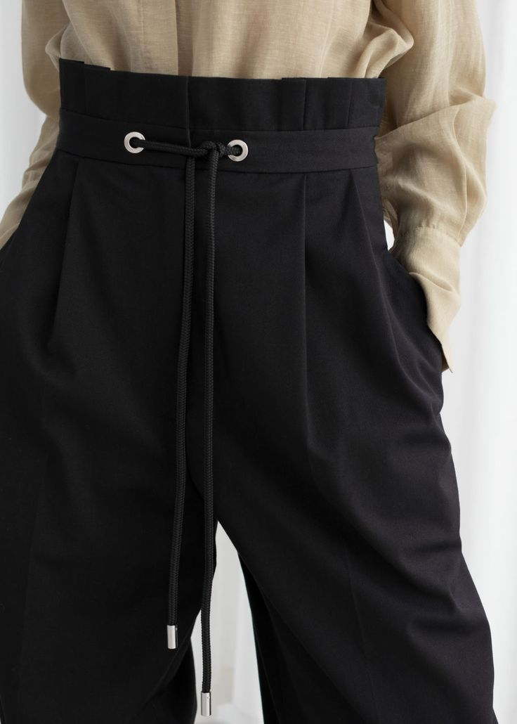 Straight Paperbag Waist Trousers