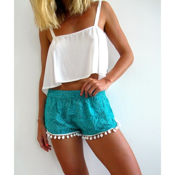 Pom Pom Shorts Emerald Green and White Dot Pattern gym/beach Shorts ($24) ❤ liked on Polyvore featuring shorts, grey, women's clothing, loose shorts, beach shorts, print shorts, white high waisted shorts and gray shorts