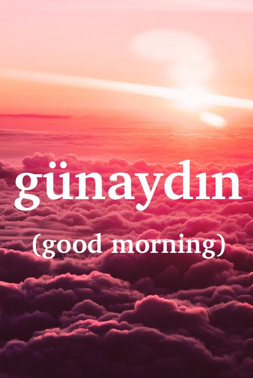 Turkish word:  günaydın - n. good morning