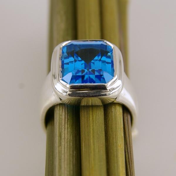 Stg Silver and Blue Topaz Ring   Geoff Taylor Goldsmith