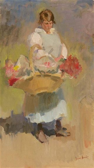Isaac Israëls - A FLOWER-GIRL; Medium: oil on canvas